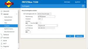 Fritz!Box Portfreigabe